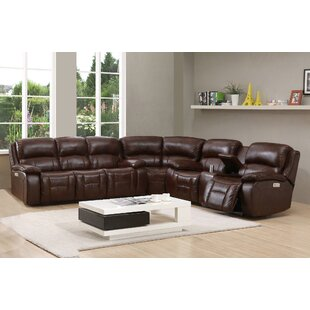 HYDELINE Westminster Ii Leather Reversible Reclining Sectional