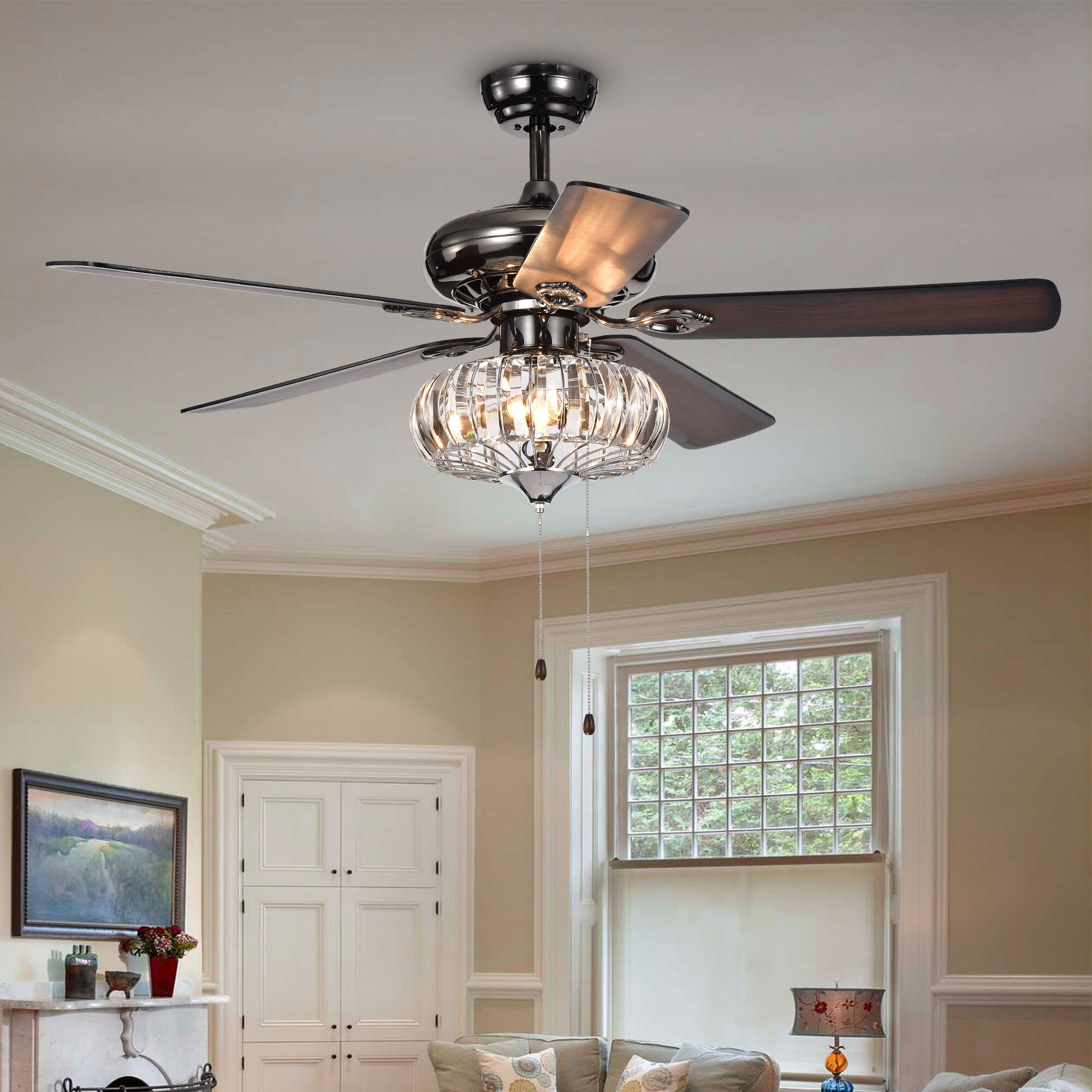 52 Laivai Crystal 5 Blade Ceiling Fan Light Kit Included