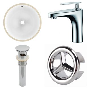 Price Check Ceramic Circular Undermount Bathroom Sink with Faucet and Overflow By American Imaginations