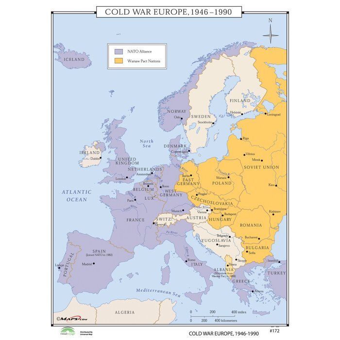 World History Wall Maps - Cold War Europe on map of berlin after cold war, political map of the cold war, map of europe after world war two, map of europe cold war water, world map after cold war, map of europe during wwii, western europe cold war,