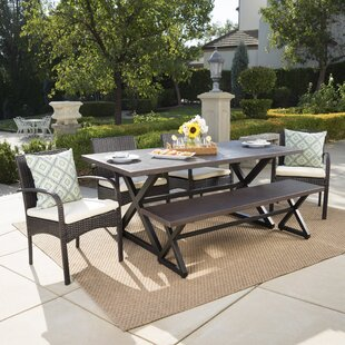 Gracie Oaks Olcott 6 Piece Dining Set with Cushions