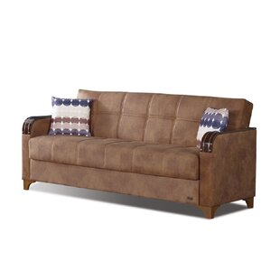 Meaney Microsuede Leather Sofa Bed by Latitude Run