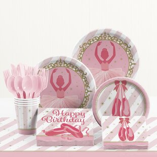 81 Piece Twinkle Toes Birthday Paper/Plastic Tableware Set