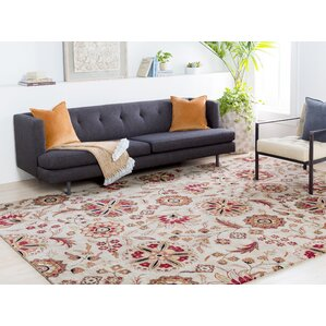 herman parchment u0026 red floral wool handtufted area rug