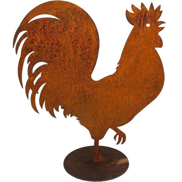 "20/"" Painted Metal Vintage Style Garden Chicken Cockerel Bird Ornament"