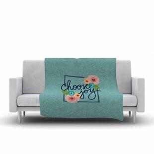 Noonday Design Choose Joy (Floral) Coral Digital Fleece Blanket ByEast Urban Home