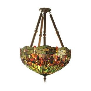 Meyda Tiffany 4-Light Tiffany Nouveau Insects Hanginghead Dragon Chandelier