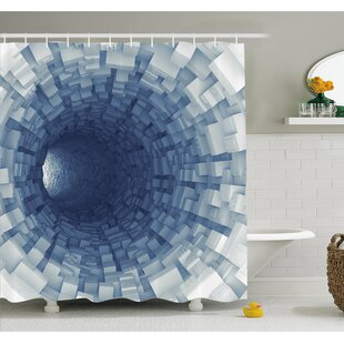 Outer Space Endless Tunnel with Fractal Square Shaped Segment Digital Dimension Artwork Shower Curtain Set by Ambesonne