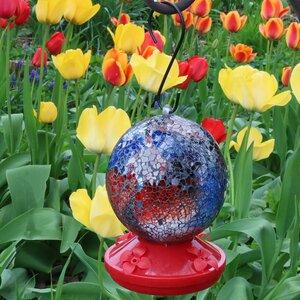 Round Glass Mosaic Hummingbird Feeder