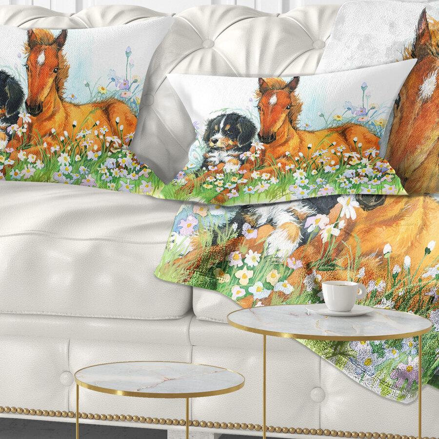 East Urban Home Animal Relaxing Cute Horse Lumbar Pillow Wayfair