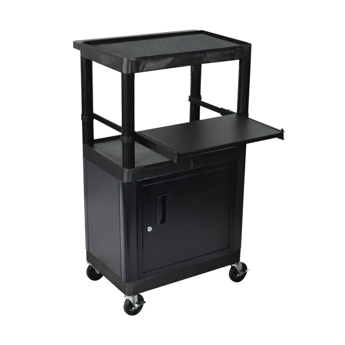 Stand Up Laptop/Overhead Workstation AV Cart With Locking Steel Cabinet