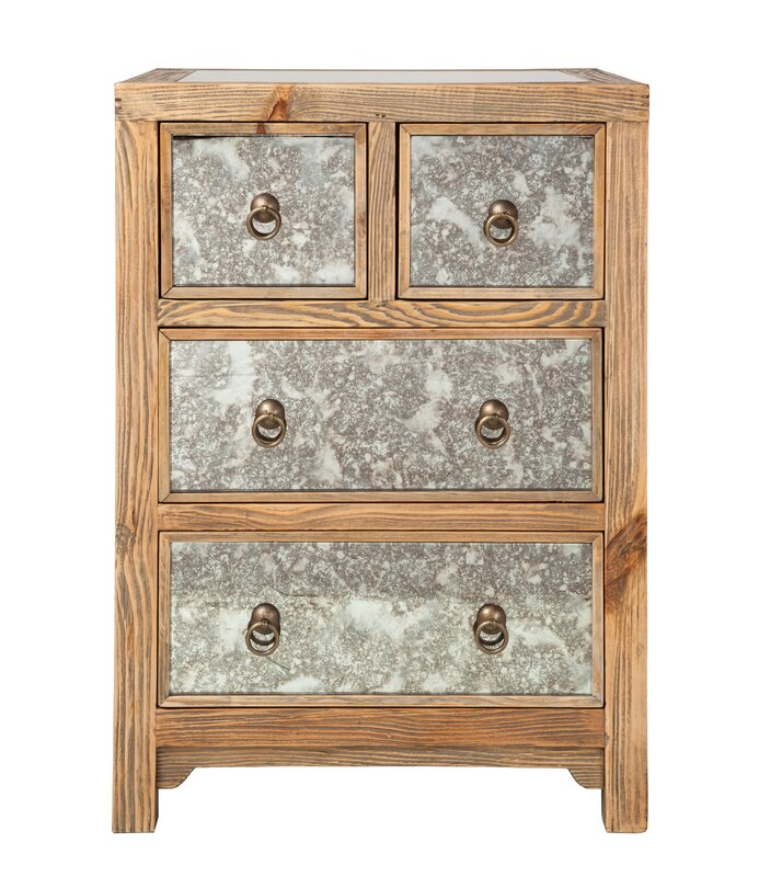 Darby Home Co Morgantown 4 - Drawer Nightstand in Gray/Weathered Pine