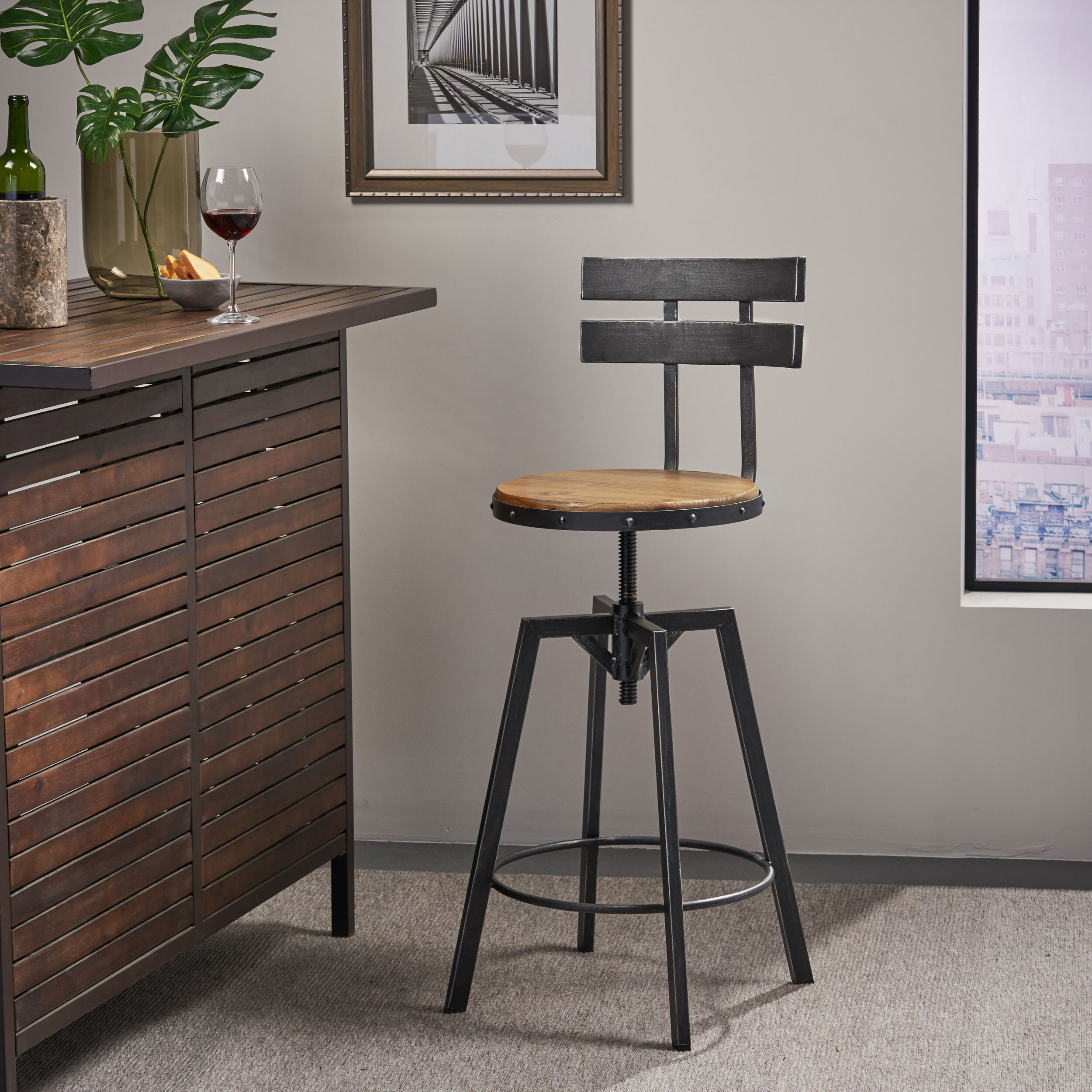 17 Stories Sylvania Swivel Adjustable Height Bar Stool Reviews Wayfair Ca