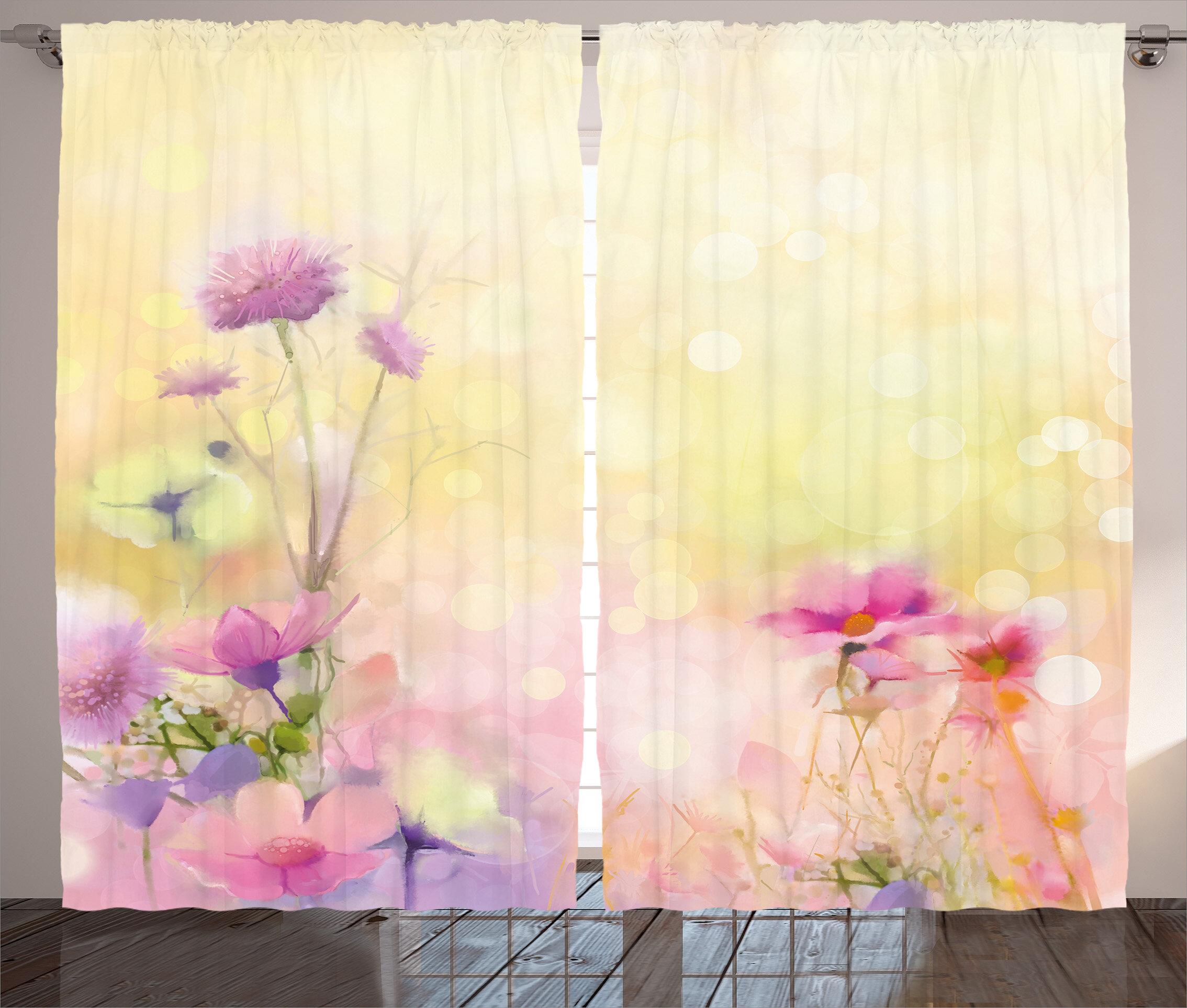 Red Barrel Studio Islip Watercolor Flower Graphic Print And Text Semi Sheer Rod Pocket Curtain Panels Wayfair