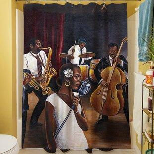 Brown/White Single Shower Curtain