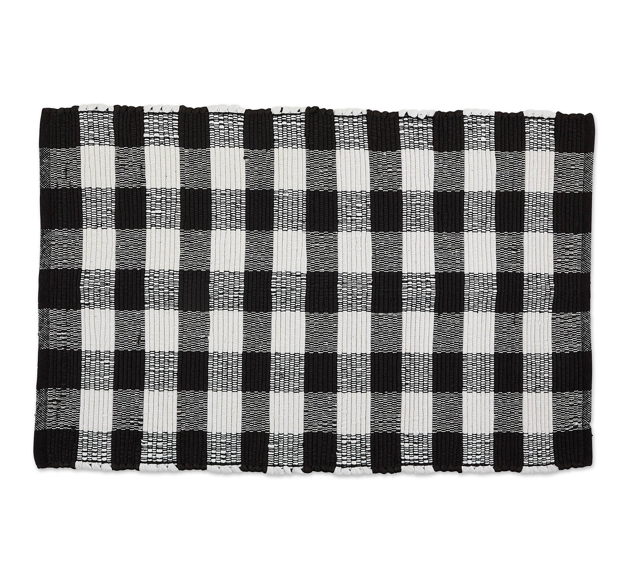 Gracie Oaks Thrall Buffalo Check Rag Cotton Black Area Rug Reviews Wayfair