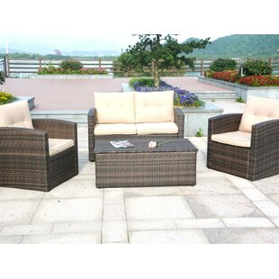 Bram 4 Piece Rattan Sofa Set with Cushions