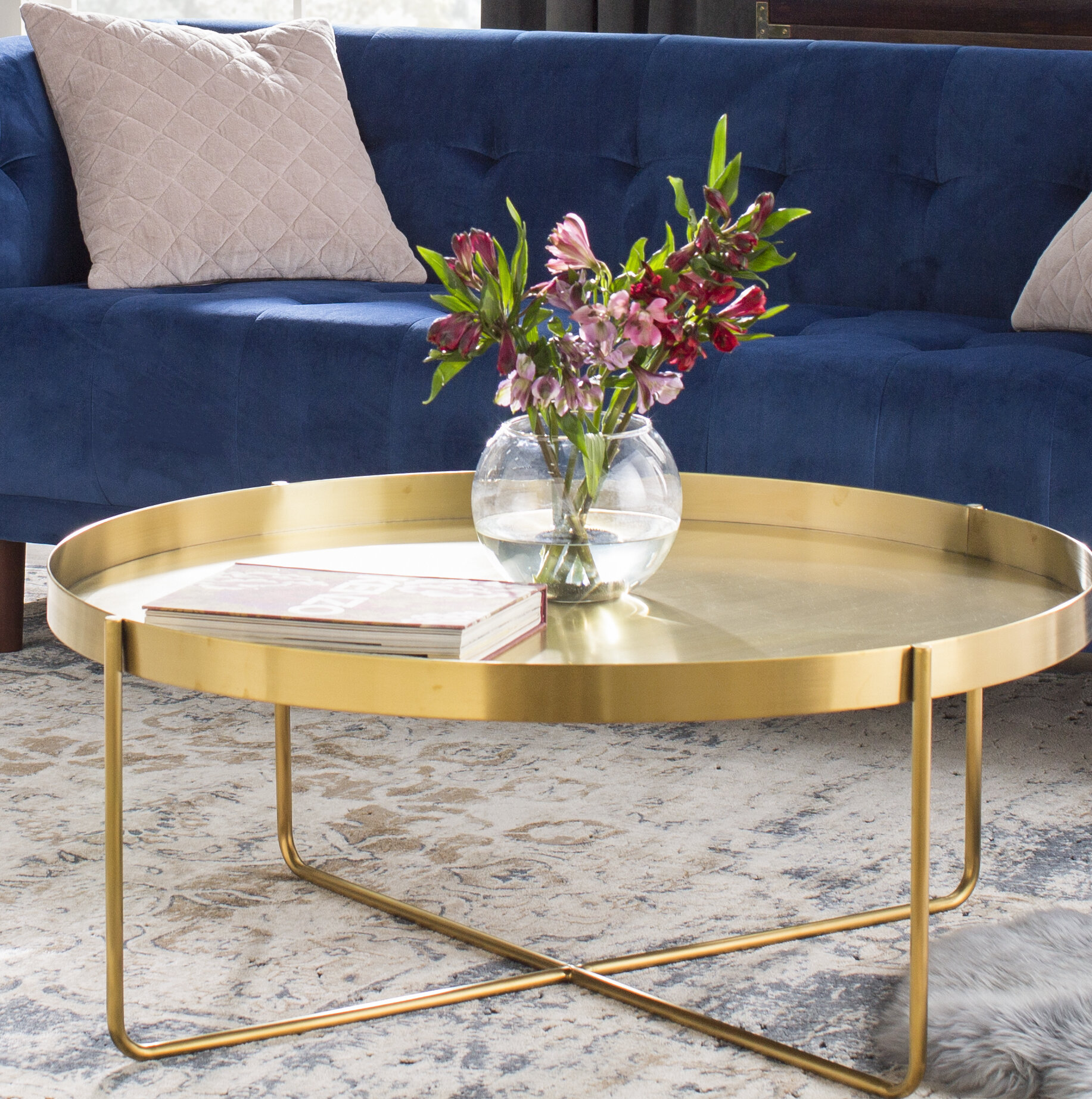 massenburg cross legs coffee table with tray top
