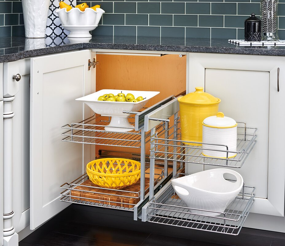 Blind Corner Cabinet Pull Out Chrome 2 Tier Basket Organizer