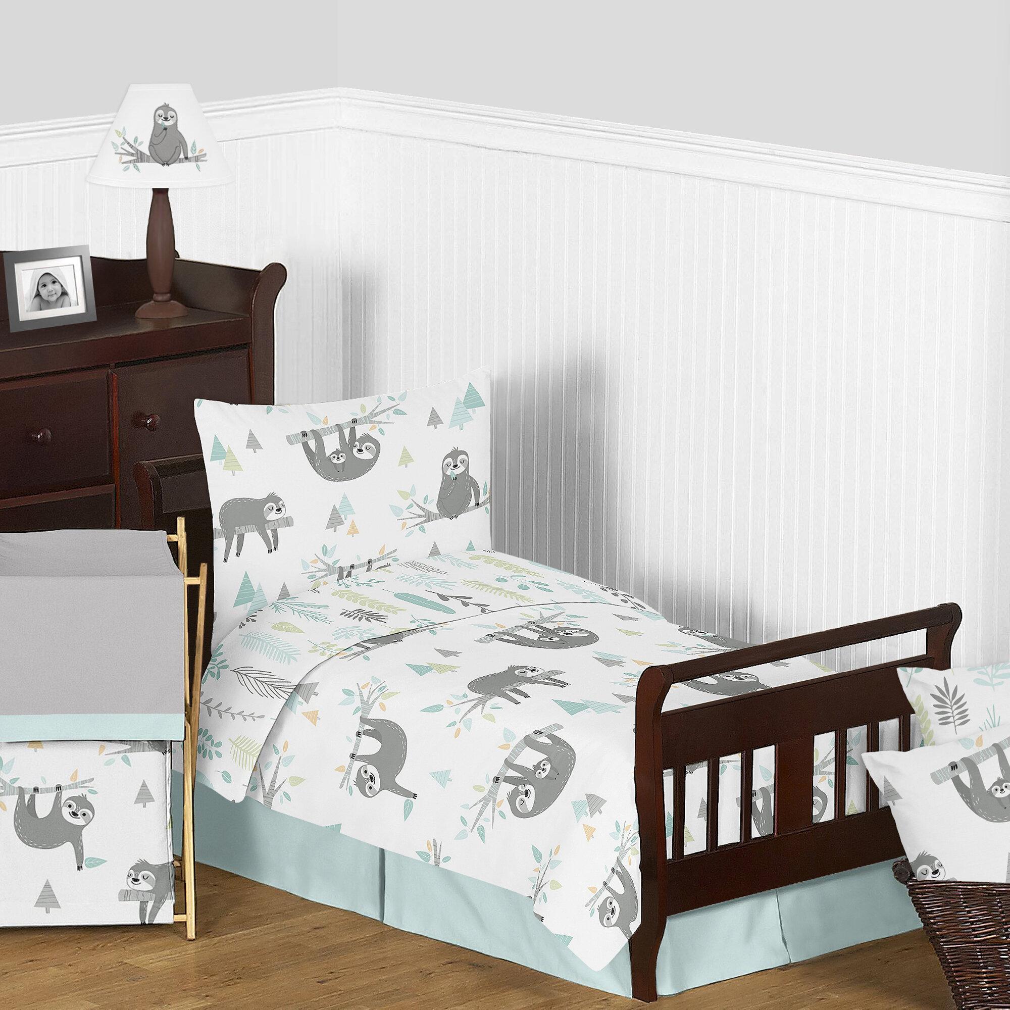 Sweet Jojo Designs Aqua And Grey Sloth Collection Sloth 5 Piece Toddler Bedding Set Wayfair
