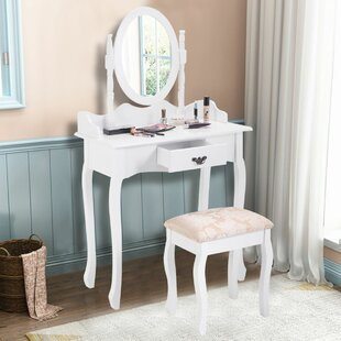 Charlton Home Pritchett Vanity Set with Mirror