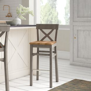 August Grove Wooden Seat Bar Stools