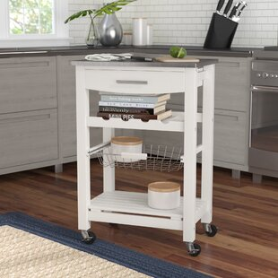 Haviland Kitchen Cart with Stainless Steel Top Highland Dunes