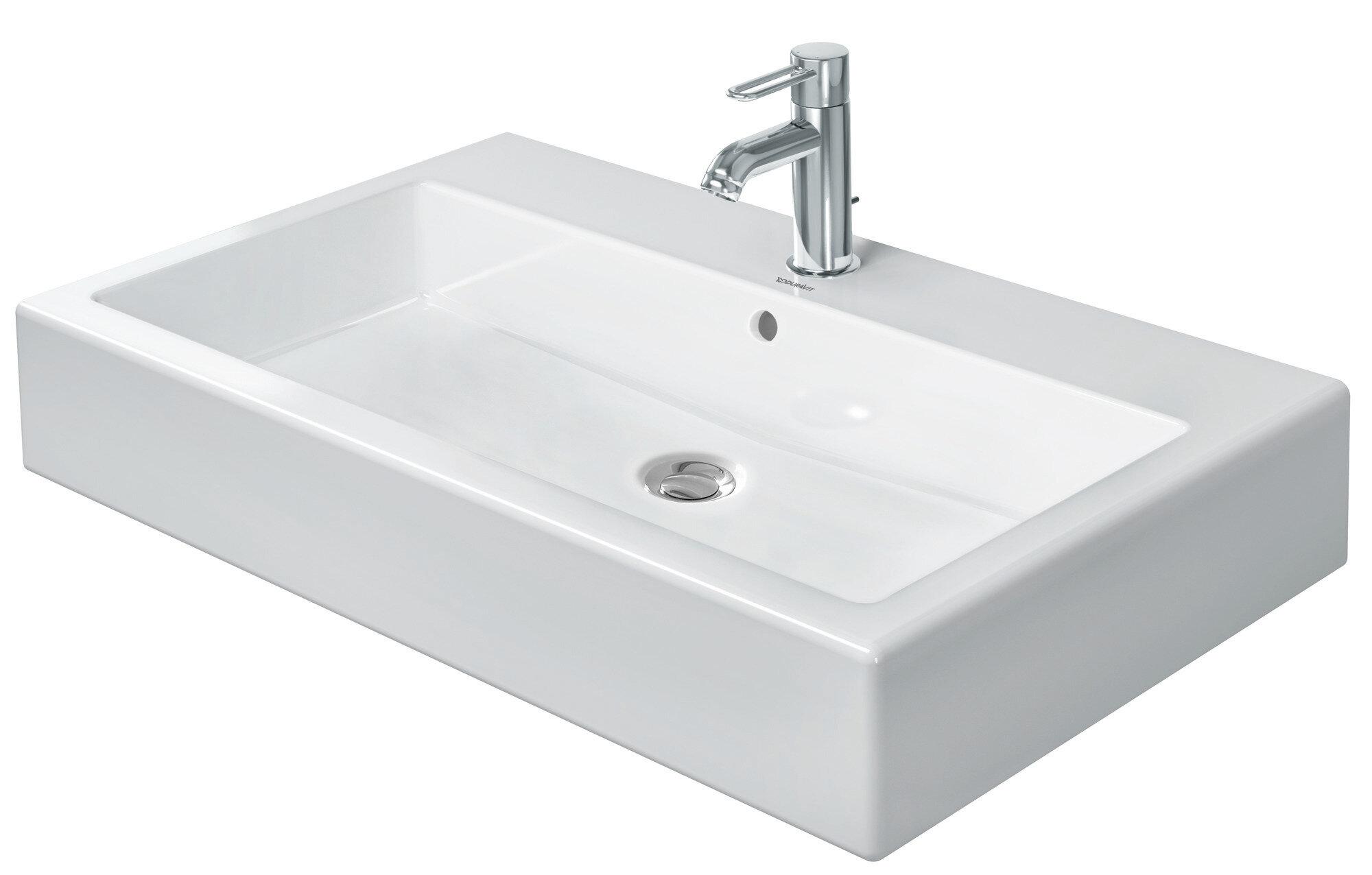 Duravit Vero Black Ceramic Rectangular Wall Mount Bathroom Sink With Overflow Wayfair