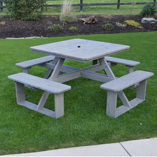 Law-Simmonds Solid Wood Picnic Table by August Grove