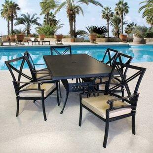 Aube 7 Piece Sunbrella Dining Set with Sunbrella Cushions by Canora Grey