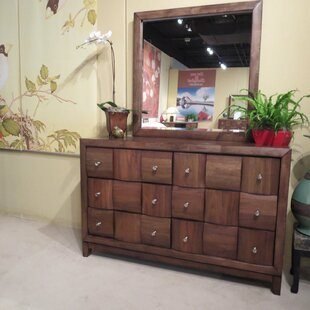 Roundhill Furniture Calais 6 Drawer Double Dresser and Mirror Image