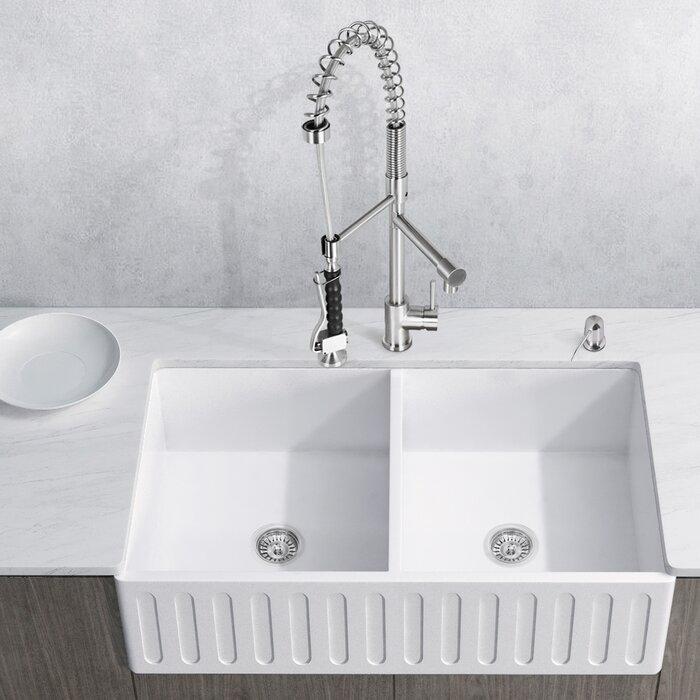 Vigo Matte Stone 33 L X 18 W Double Basin Farmhouse Kitchen Sink With Basket Strainer