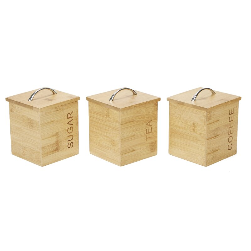 Charmant 3 Piece Bamboo Kitchen Canister Set