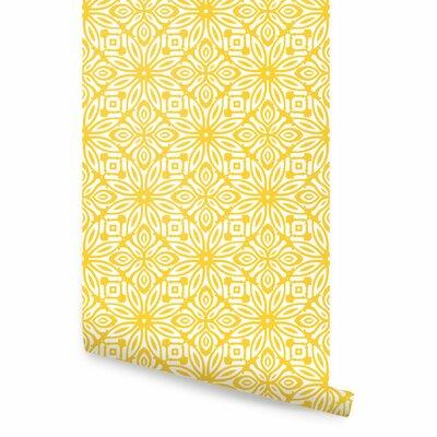 Sakamoto Peel and Stick Wallpaper Panel Bungalow Rose Color: Yellow