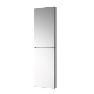 Tall Bathroom 15 x 52 Recessed or Surface Mount Frameless Medicine Cabinet with 2 Adjustable Shelves Fresca