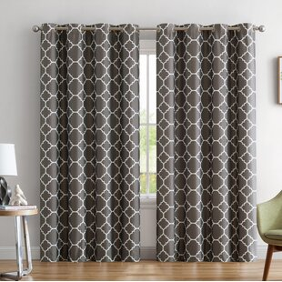 Yeates Moroccan Geometric Max Blackout Thermal Grommet Curtain Panels (Set of 2) by Alcott Hill