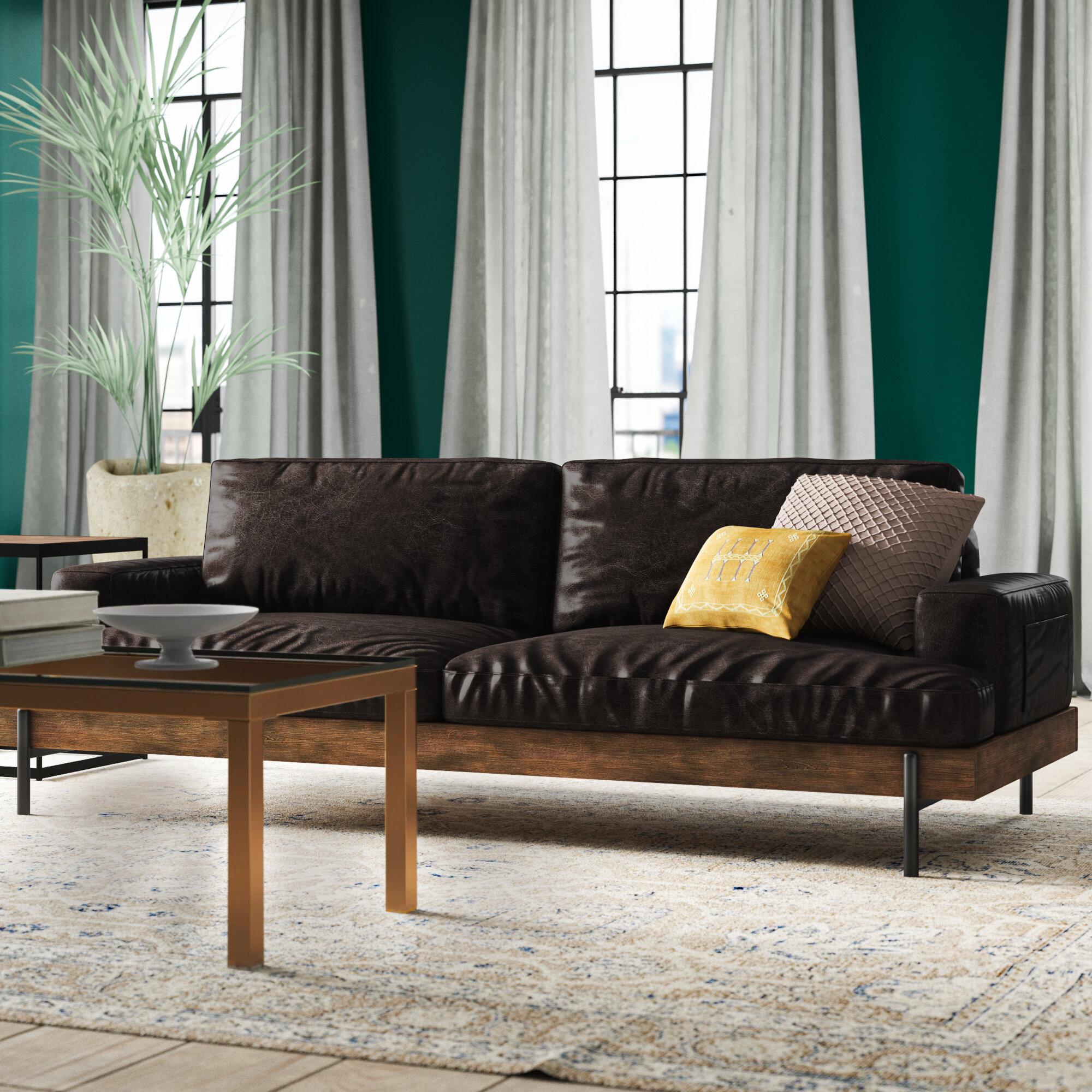 Greyleigh Pakswith Genuine Leather 94 68 Recessed Arm Sofa Wayfair