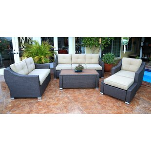 World Wide Wicker Tampa 5 Piece Rattan Sofa Seating Group with Cushions