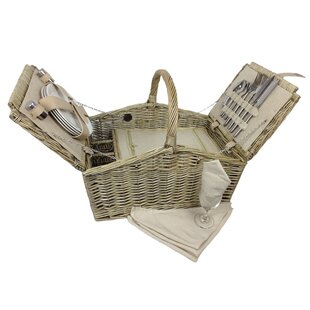 Double Lidded 4 Person Picnic Basket By Beachcrest Home