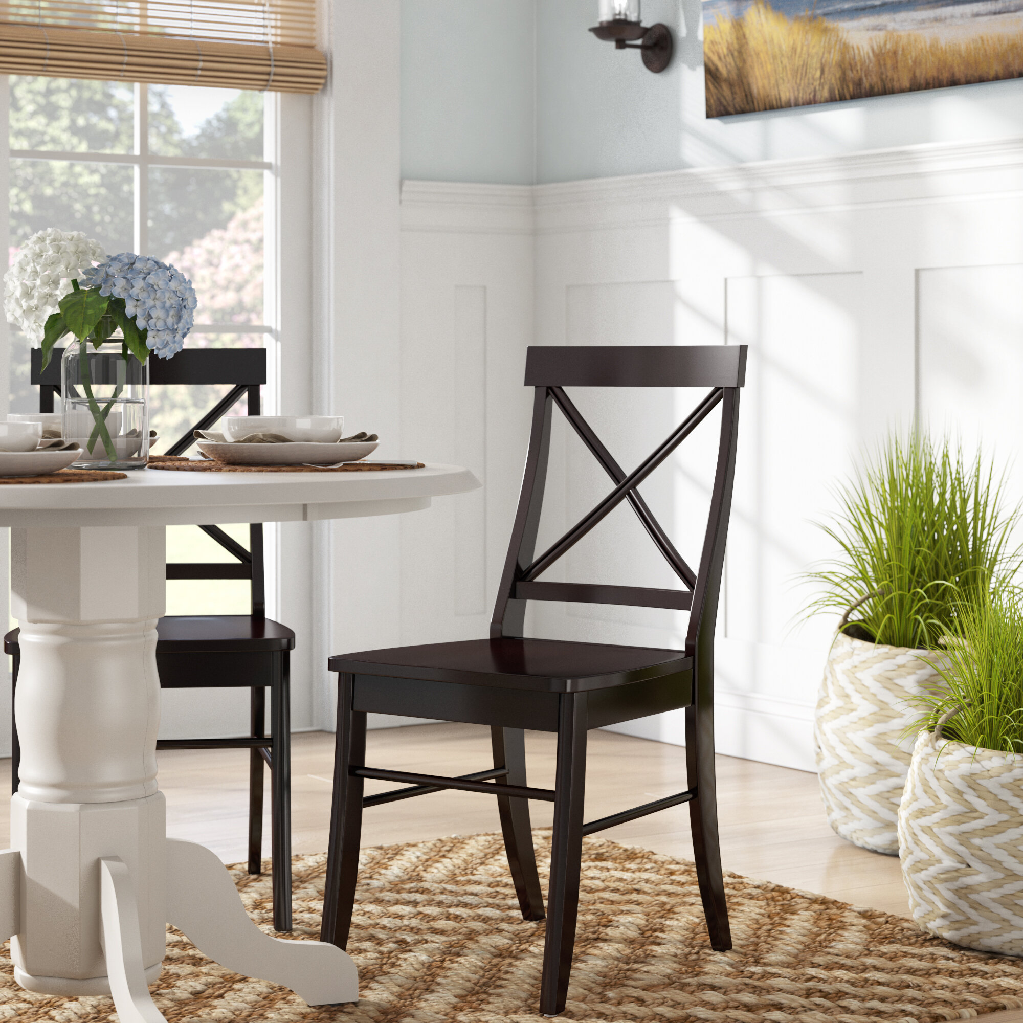 Picture of: Beachcrest Home Melbourne Shores Solid Wood Cross Back Side Chair In Black Reviews
