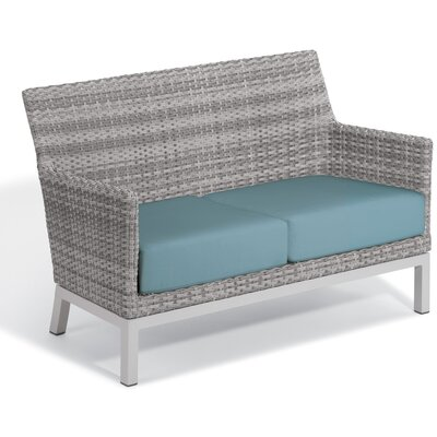 Brayden Studio Saleem Loveseat with Cushions Cushion Color: Ice Blue