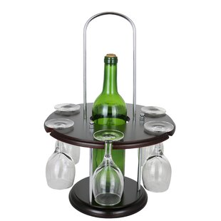 Wine Bodies Wooden Round Glass Holder Display 1 Bottle Tabletop Wine Glass Rack