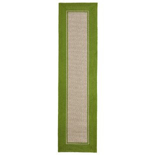 Elam Border Hand-Woven Green/Beige Indoor/Outdoor Area Rug
