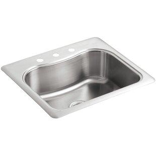Review Staccato 25 x 22 x 8-5/16 Top-Mount Single-Bowl Kitchen Sink with 3 Faucet Holes by Kohler