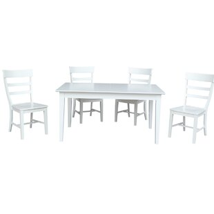 36 x 60 Extendable 5 Piece Dining Set with 4 Ladderback Chairs