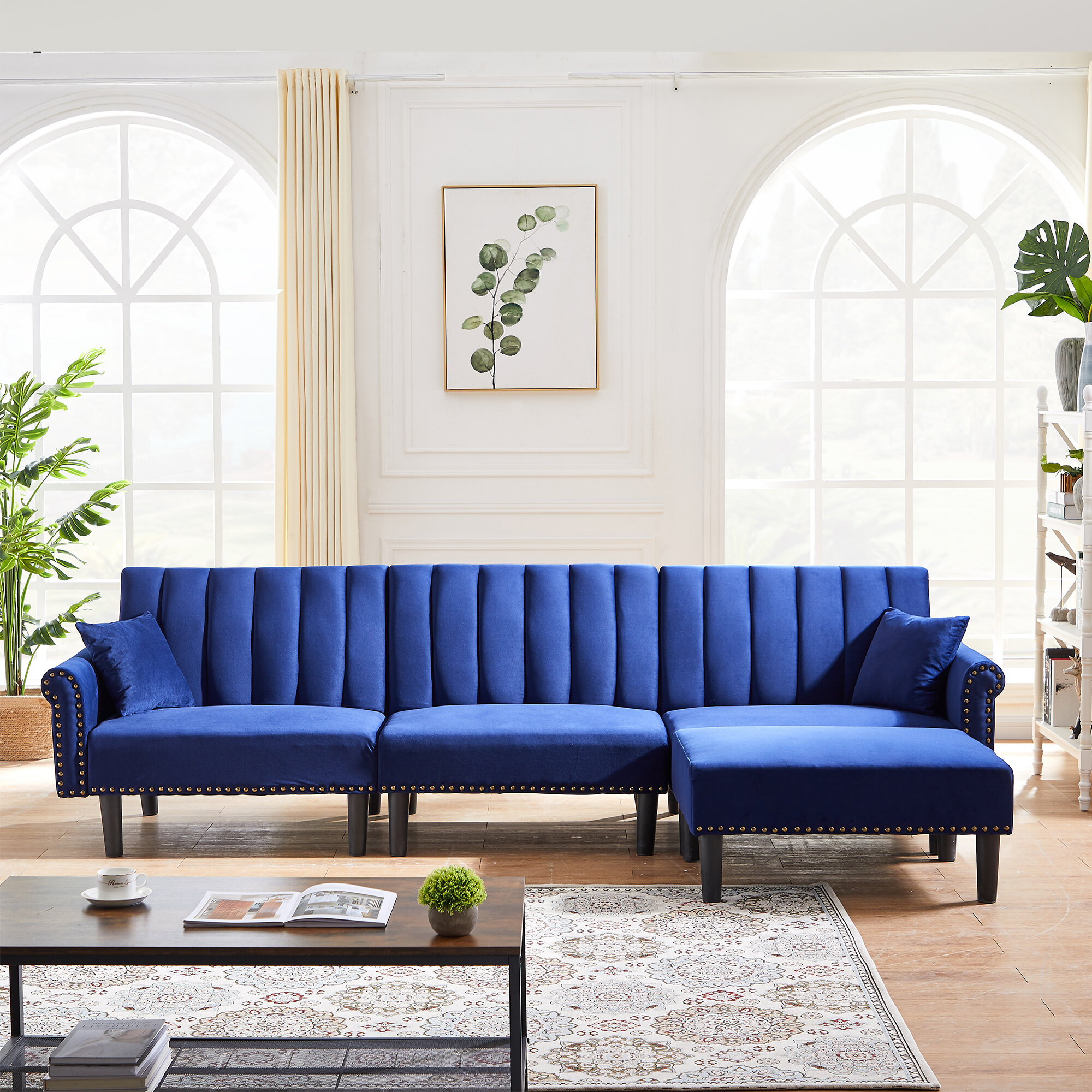 Everly Quinn Rivet Upholstered Combination Sofa With Adjustable Back Modular Chaise Sectional Sofa Velvet Upholstered Sofa Bed Double Deck Chair With 2 Throw Pillows Modern Contemporary Style Wayfair Ca