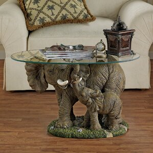 Elephant's Majesty Coffee Table with Glass Top by Design Toscano