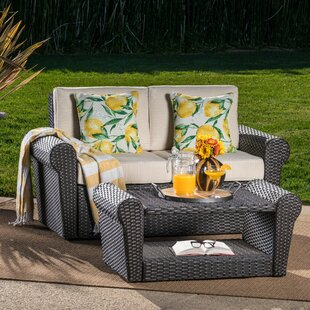 Hong 2 Piece Rattan Conversation Set with Cushions