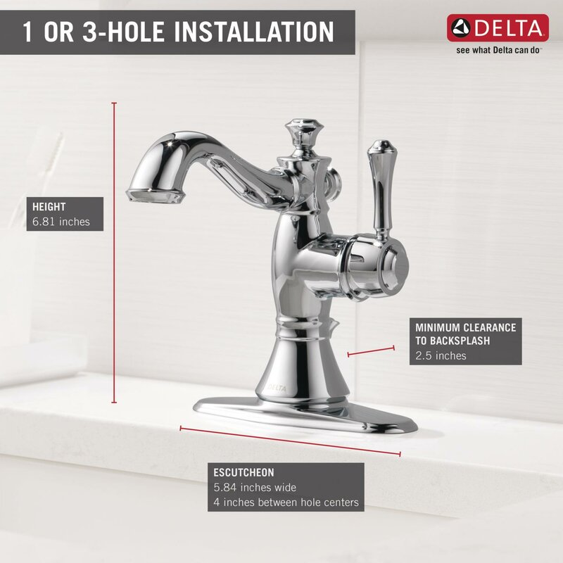 Delta Cassidy® Single Hole Bathroom Faucet with Drain Assembly ...