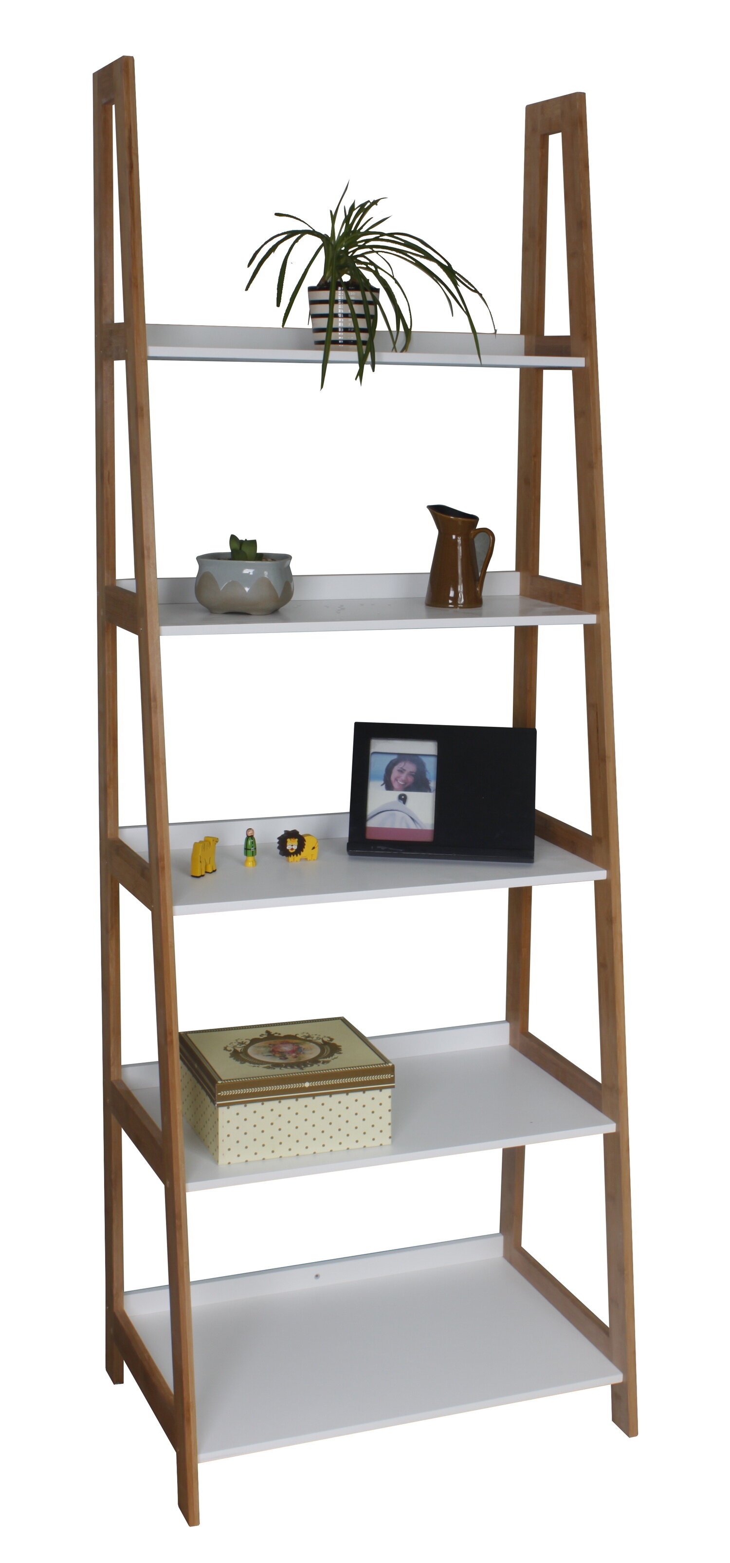 Hokku Designs 5 Tier Wooden Bamboo Storage Ladder 180cm Bookcase Reviews Wayfair Co Uk